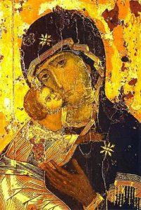 Fragment van de Moeder Gods Vladimirskaja, Byzantijnse icoon (12e eeuw). Deze icoon is een van de meest vereerde iconen in Rusland.